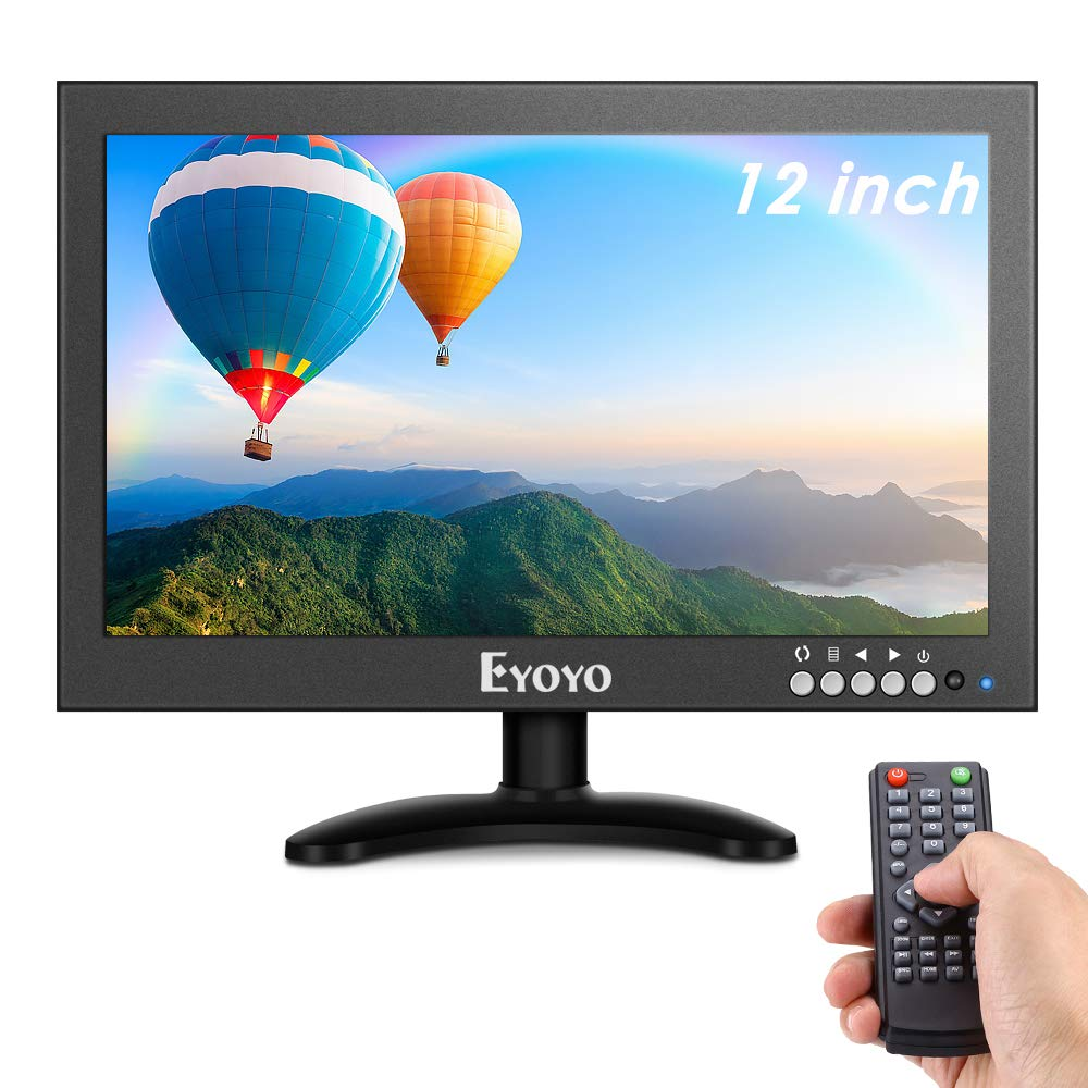 Eyoyo EM12X 12'' inch Small HDMI CCTV Monitor, 1366x768 IPS Metal Housing LED Screen W/Wall Bracket&Remote Control with HDMI/VGA/AV/BNC Input Built-in Speakers for PC, Security Camera, Raspberry Pi