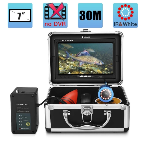 Eyoyo Underwater Fishing Camera 24 Infrared & White LEDS+7 Inch LCD Monitor+1000 TVL Waterproof Camera+30m(98ft) Cable