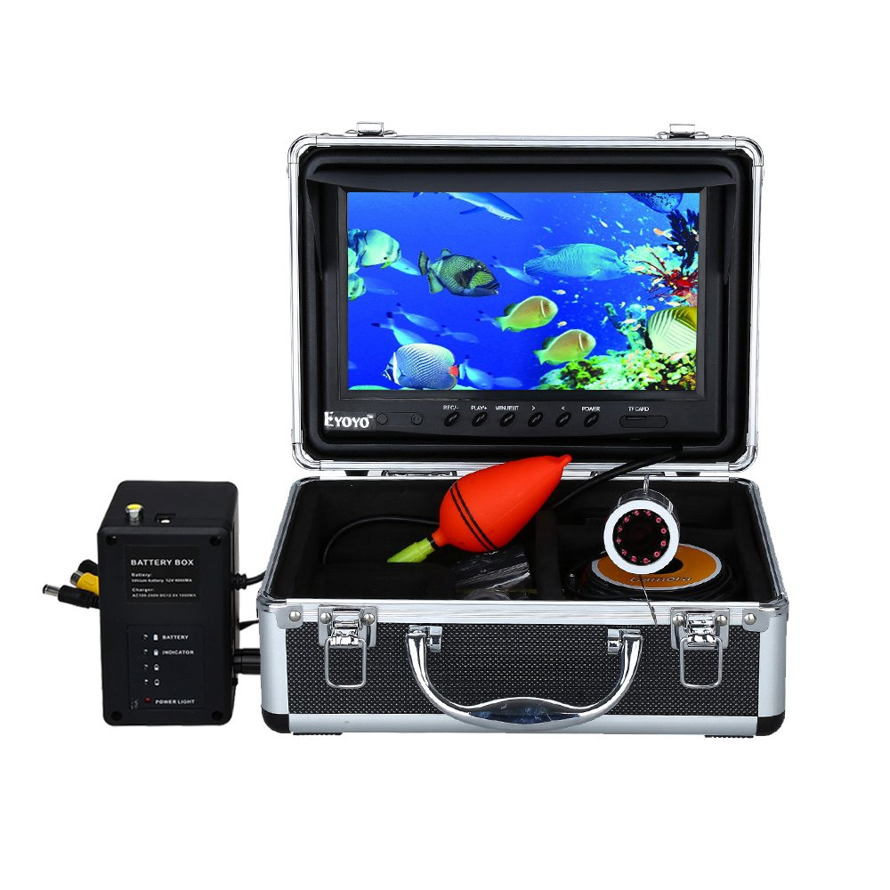 Eyoyo Portable 9 inch LCD Monitor Fish Finder 1000TVL Fishing Camera Waterproof Underwater DVR Video Cam (9 inch Infrared Lights(15m/30m))