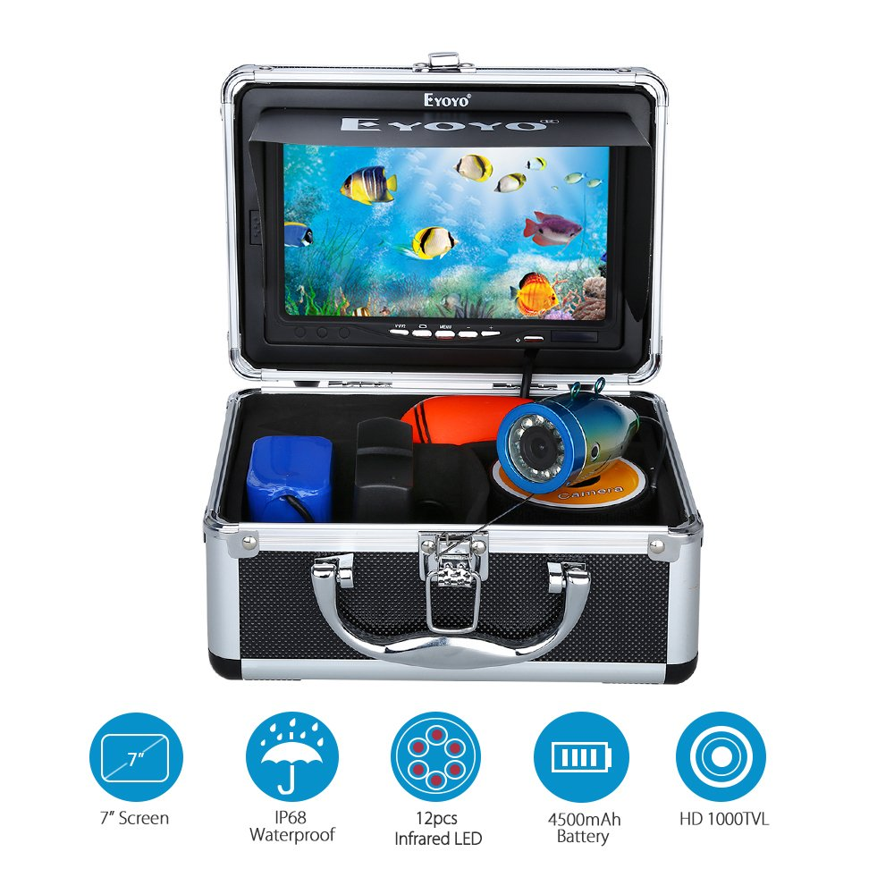 Eyoyo Portable 7 inch LCD Monitor Fish Finder Waterproof Underwater 1000TVL Fishing Camera 50m Cable 12pcs IR Infrared LED for Ice,Lake and Boat Fishing