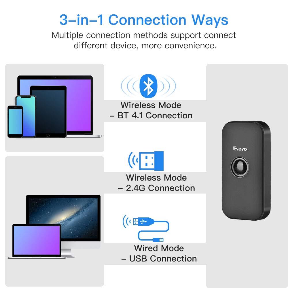 Eyoyo Mini Bluetooth 2D Barcode Scanner, 3-in-1 USB Wired