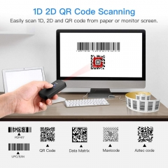 Eyoyo Mini Bluetooth 2D Barcode Scanner, 3-in-1 USB Wired/2.4G Wireless/Bluetooth Bar Code Reader Portable 1D QR Image Scanner PDF417 Data Matrix Code for iPad, iPhone, Android, Tablets or Computer PC