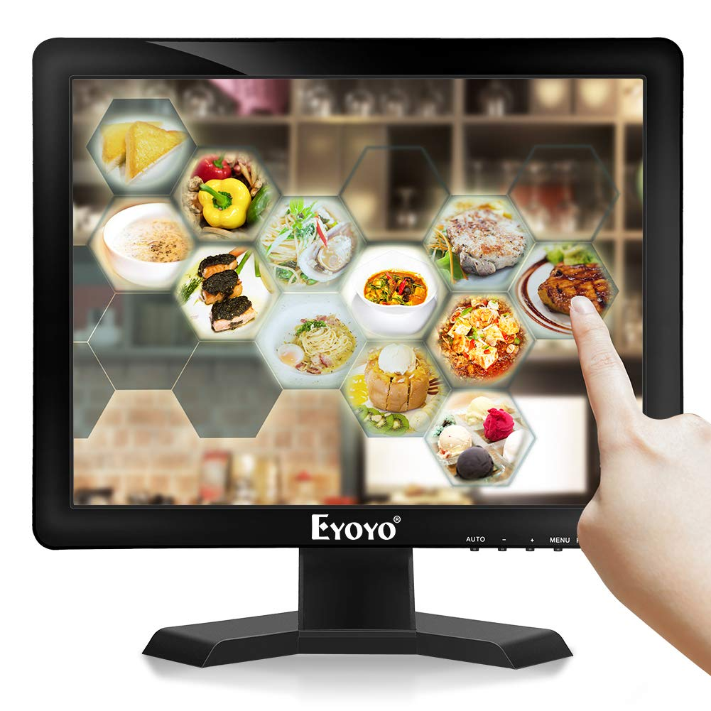 Eyoyo EM15T 15 inch Touch Screen Monitor POS Monitor HDMI VGA LCD Monitor 4:3 Display 1024×768 w/Built-in Speaker for POS System Industrial Equipment Computer Laptop
