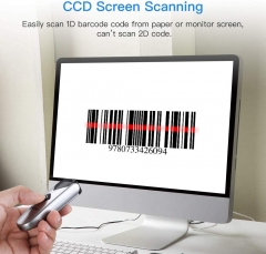 Eyoyo CCD Bluetooth Barcode Scanner, Mini Wireless Barcode Reader with USB Wired/2.4G/Bluetooth Connection Portable 1D Image Scanner Support CCD Screen Scanning for iPad, iPhone, Android, Tablets, PC