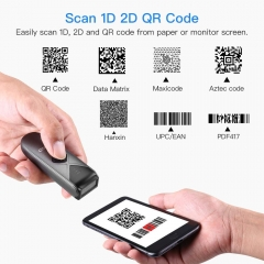 Eyoyo EY-015 Bluetooth Barcode Scanner, Mini Portable Barcode Reader with USB Wired/Bluetooth/ 2.4G Wireless Connection 1D 2D QR PDF417 Data Matrix Image Scanner for iPad, iPhone, Android, Tablets PC