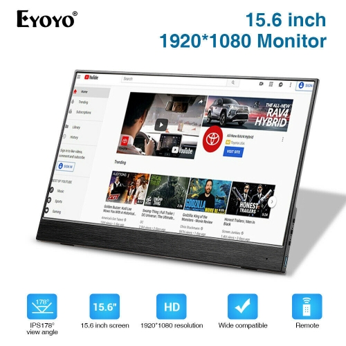 "EYOYO EM15S 15.6"" Portable Second Silm Monitor TFT LCD HD Display 5000mA 2.5h Standby"
