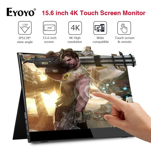 "Eyoyo EM15X 15.6"" IPS LCD 4K HDR HDMI Monitor USB-C Touch Screen 3840×2160 Second Monitor"