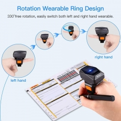 Eyoyo EY-016L 1D Bluetooth Wearable Ring Barcode Scanner, Portable Mini Finger Bar Code Reader with 2.4GHz Wireless & USB Wired Connection for iPhone iPad Android iOS, for Book, Warehouse Inventory, Express