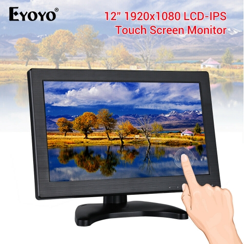 "Eyoyo EM12Q 11.6"" IPS 1920*1080 Touch Screen HDMI Monitor USB VGA Display for CCTV PC"
