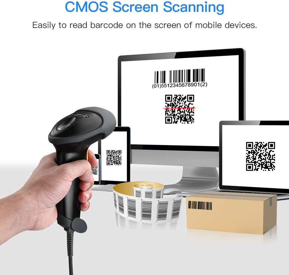 Eyoyo EY-H2 Handheld USB 2D Barcode Scanner QR PDF417 Data Matrix 1D Bar Code Scanner Wired Barcode Reader with USB Cable for Mobile Payment, Convenience Store, Supermarket, Warehouse