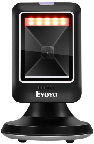 Eyoyo 2D 1D Desktop Barcode Scanner, Platform Scanner with Automatic Sensing Scanning Omnidirectional Hands-Free USB Wired Barcode Reader Work with POS PC for Supermarket Library Retail Store