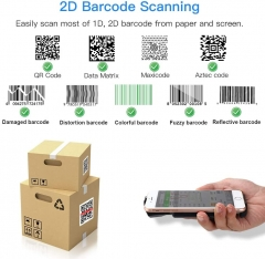 Eyoyo EY-017 2D Bluetooth Barcode Scanner, Portable Back Clip Wireless 1D 2D QR Barcode Reader with Bluetooth Function PDF417 Data Matrix Code Maxicode Image Scanning Compatible with Android, iOS
