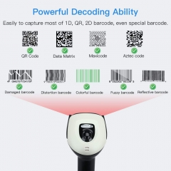 Eyoyo EY-011 Wireless 2D QR Barcode Scanner with Adjustable Stand, Bluetooth & 2.4G Wireless & USB Wired Handheld Barcode Reader with 1D 2D Screen Scanning Auto Sensing Connect Smart Phone Tablet PC