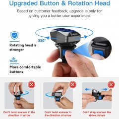 Eyoyo EY-016P Upgraded Eyoyo 2D Ring Barcode Scanner Bluetooth, USB Wired & 2.4G Wireless & Bluetooth Mini Wearable Bar code Scanner, 1D 2D QR Image Barcode Reader PDF417 Data Matrix for iPhone, Andriod, Tablet, PC