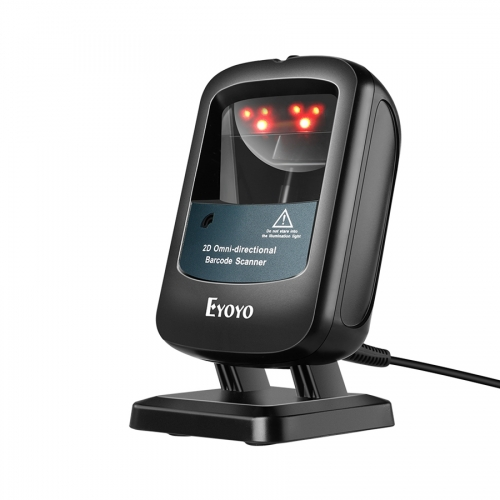 Eyoyo EY-2200C 2D Hands-Free Barcode Scanner, Omnidirectional USB Wired Desktop Barcode Reader 1D 2D PDF417 Data Matrix Bar Code Reader with Automatically Scanning for Retail Store Supermarket Mall Business